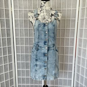 Jordache Overall Dress Denim Blue Jean